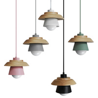 The Nordic Modern Minimalist Bedroom Small Chandelier Iron Wood Bowl Hall Creative Personality Macarons Restaurant LED