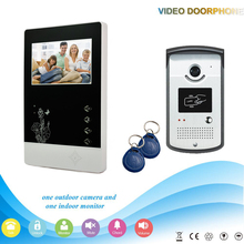 -V43D11ID 1V1 2016 4.3Inch Home Security Video Door Phone support Rf ID Unlocking work with electronic lock Intercom System