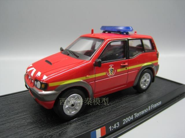 AMER 1/43 Scale 2004 Terrano II FRANCE Fire Engine Diecast Metal Car Model Toy for Gift/Collection/Decoration