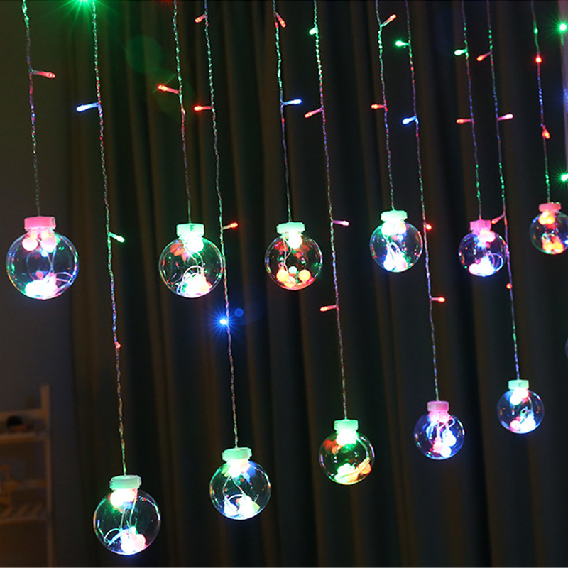 Image 5 - Fairy Garland LED Ball String Lights For Wedding Christmas Birthday Party Festival Decor LED Lights Decoration Curtain Lights-in Lighting Strings from Lights & Lighting