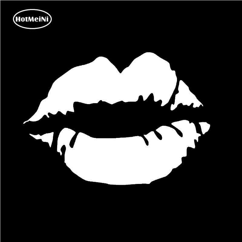 HotMeiNi Mobil Stiker Hitam/Sliver Bibir Ciuman Lipstik Vinyl Decal Mobil Jendela Bumper Sticker Lucu Sexy Dinding Laptop 6*4 cm