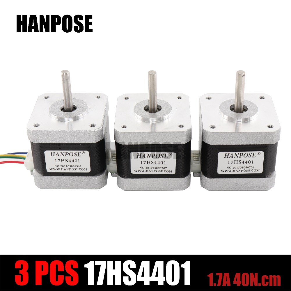 3PCS Free Shipping 3D printer 4-lead Nema17 Stepper Motor 42 motor Nema 17 motor 42BYGH 1.7A (17HS4401) motor for CNC XYZ