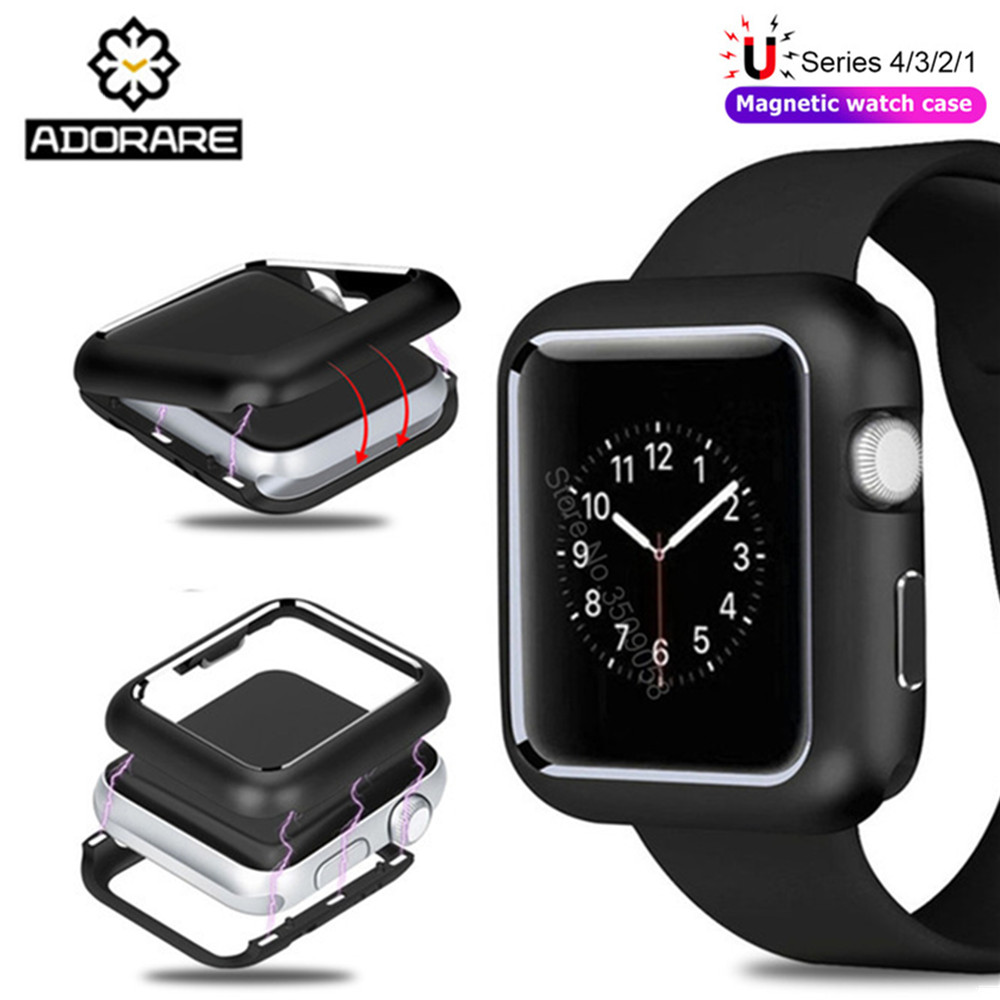 купить Magnetic Adsorption Aluminum Metal Protector Cases Cover for Apple Watch 38MM 42MM Series 1 2 3 4 40mm 44mm Magnet Bumper Case недорого
