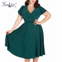 Nemidor Women Casual Style Plus Size V Neck Short Sleeve Retro Dress Elegant Stretchy Knee Length