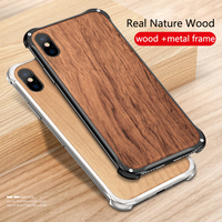 Fashion Nature Wood Case for iPhone XS Max XS XR X Cases Real Wood Metal Frame Shockproof Case for iPhone 6 6S 7 8 Plus Cover
