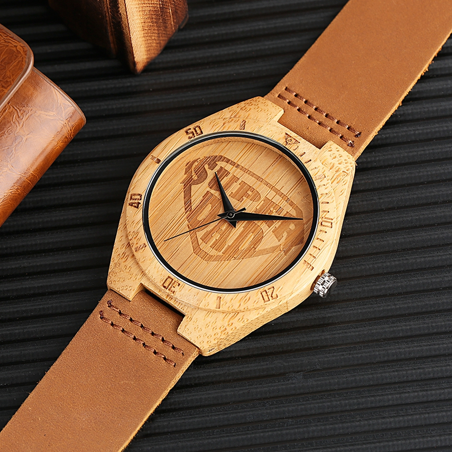SUPER DAD Wood Watch Simple Bamboo Male Clock Casual Genuine Leather Band Men's Quartz Wristwatch Top Gifts for Dad Father's Day 2017 (11)