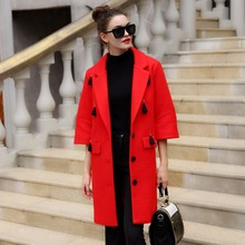 Brand Design Winter Coat Women Warm Wool Coat Long Women's Cashmere Coat  Fashion Jacket Outwear  flare sleeve  66135A