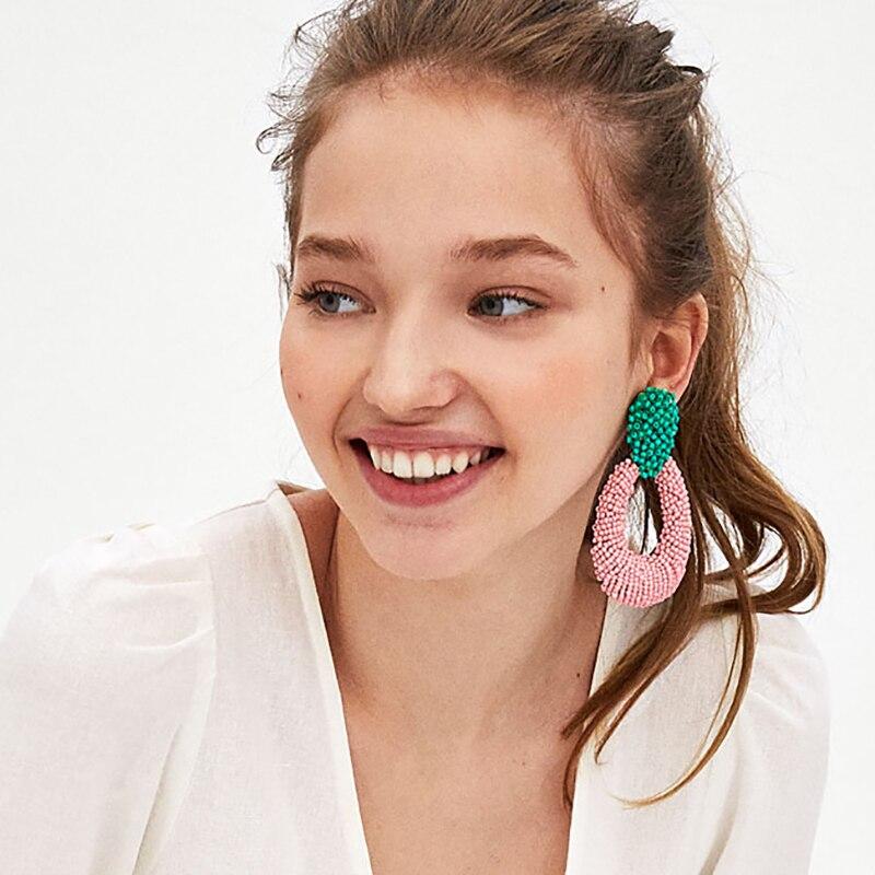 JURAN Charm Romantic Statement Earrings Bohemian Holiday Jewelry New Pinky Color Cute Dangle Drop Earrings For Women