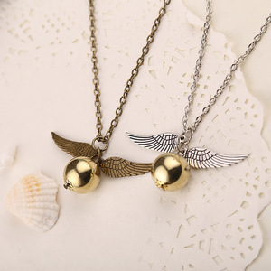 Image 2 - 24 Pcs/Lot Magician School Angel Wings The Seeker Charm Quidditch Golden Snitch Pendent Necklace Jewelry Bulk Wholesale