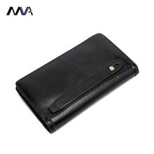 MVA 100% Cow Leather Men Wallets Long Genuine Leather Wallets for Men & Women Brown Men Purses Long Man Wallet