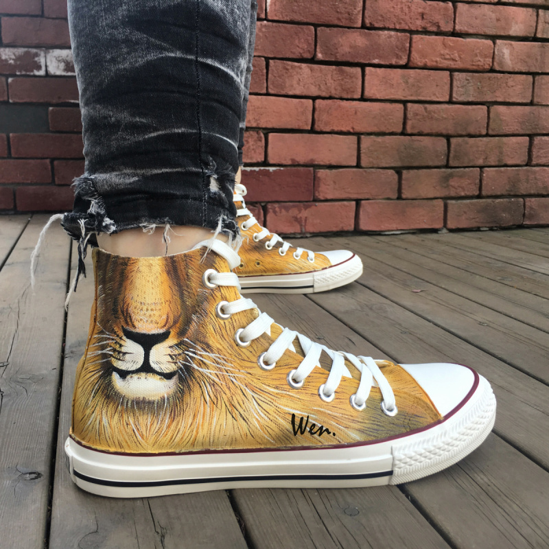 Wen Original Custom Design King of The Jungle Fierce Animal Lion Hand Painted Sneakers Shoes High Top Canvas Skateboard Shoes галстуки