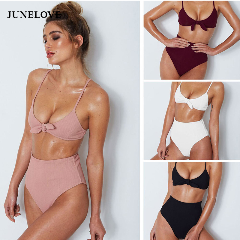 Junelove 2018 Summer Women Sexy Beach Bow Back Closure Bra Brief Sets Half Cup Wire Free Bra Underwear Sets Padded Swimsuits