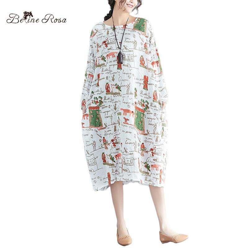 BelineRosa 2018 Kawaii Dresses for Women Cartoon Printing Long Sleeve Spring Dress Plus Size Big Sizes Clothes BSDM0084
