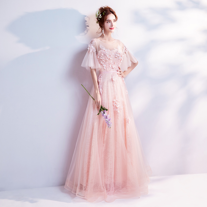 Clearance Robe De Soiree Pink Crystal Beading Flowers Long Evening Dress The Bride Banquet Sexy Transparent Party Prom Dresses