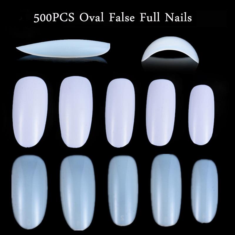 500pcs/lot Oval Fake Acrylic Nails Round Shapes Oval Nail Tips ...