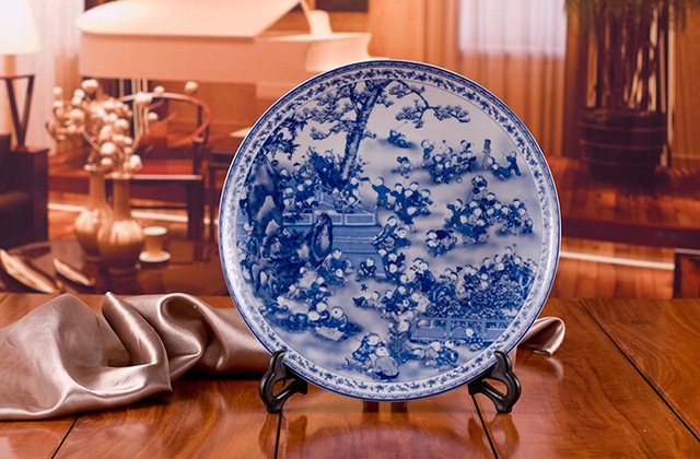 chinese antique blue white porcelain wall decorative ceramic plates