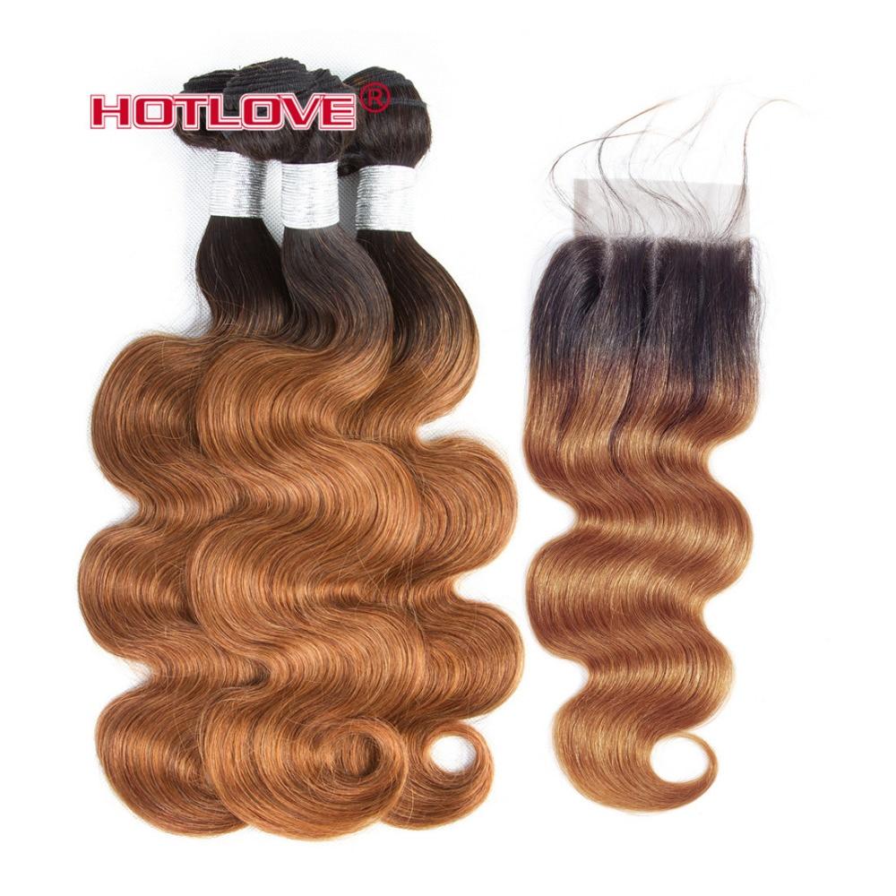 Объемная волна Ombre волос 3 Связки с закрытием 4*4 закрытия шнурка расширения перуанский не Реми натуральные волосы T1B/ 30 каштановые волосы Hotlove