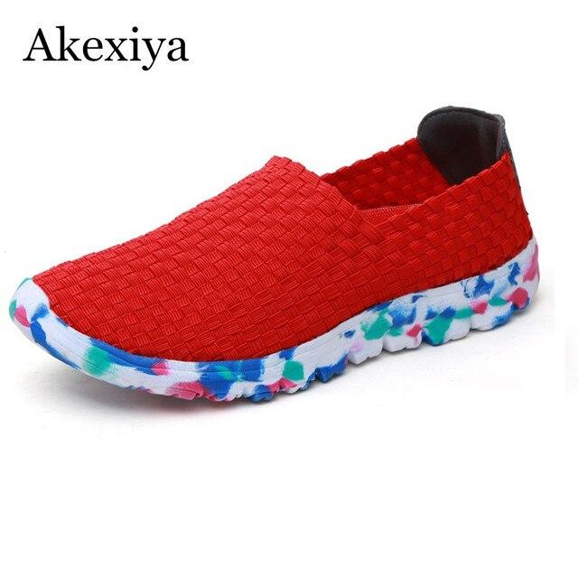 214c3aed47 Akexiya verano plana zapatos de mujer zapatillas deportivas mujer de punto  superior mujer slip-on