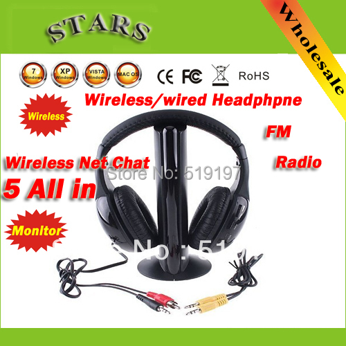 5 in 1 HIFI Wireless headphone Earphone Headset wireless Monitor FM radio for MP4 PC TV audio 2017 brand new multifunction 5 in 1 cordless headphone fm wireless headset earphone for mp4 mp3 pc tv ipod auriculares mikrafon