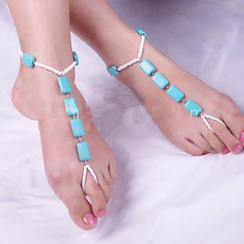 Europeus e Americanos moda tornozeleira barefoot sandálias, acessórios de praia, turquesa tornozeleira um par, com cercadura cadeia dedo do pé, frete grátis