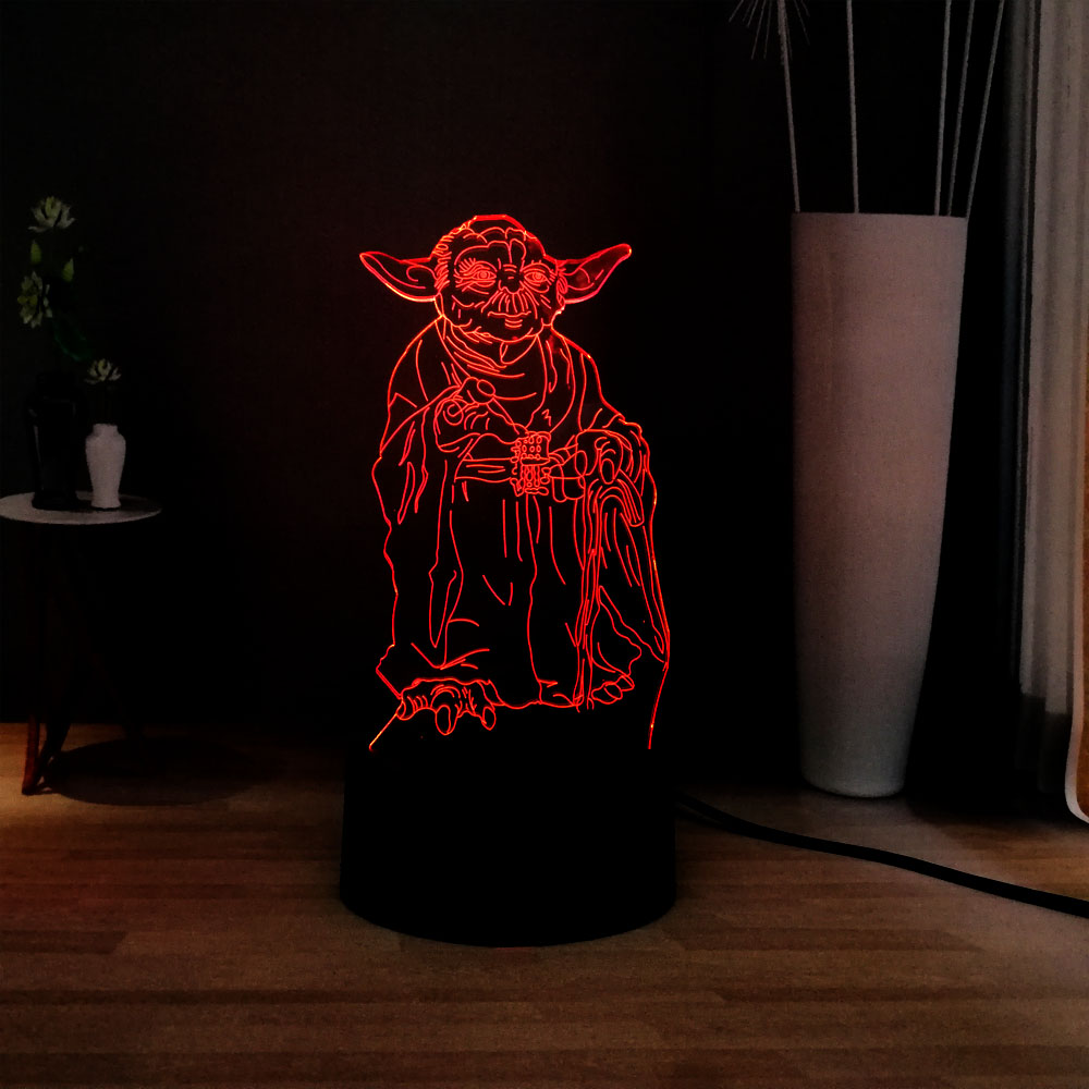 Acrylic Star Wars Series Master Yoda Novel Dec Bedside Sleep LED 7Color Change USB Lamp Kids Holiday Birthday Gift Drop Shipping image