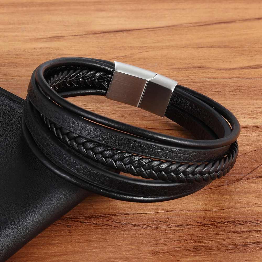 XQNI 19/21/23CM Genuine Leather Bracelet Black & Brown Color with Stainless Steel Buckle Easy Hook Bangle For Cool Boys Gift