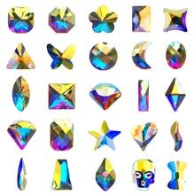 Nail Art Rhinestones 12Pcs / Pack forma plana diferente forma y tamaño Glass AB piedras coloridas para decoración 3D Nails