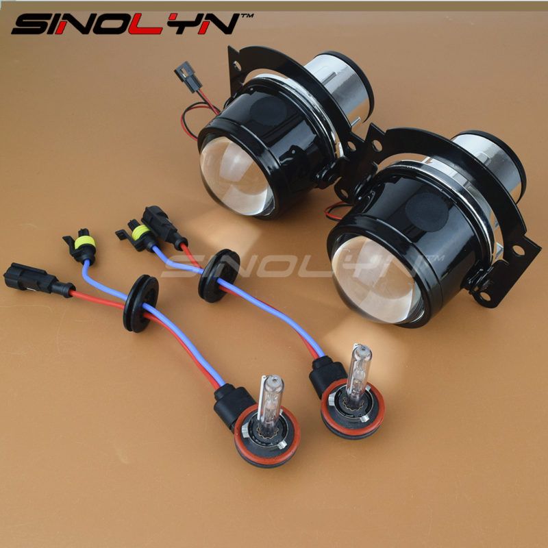 SINOLYN Universal Waterproof HID Bi xenon Fog Lights Projector Lens Driving Lamp Retrofit H11 High Low