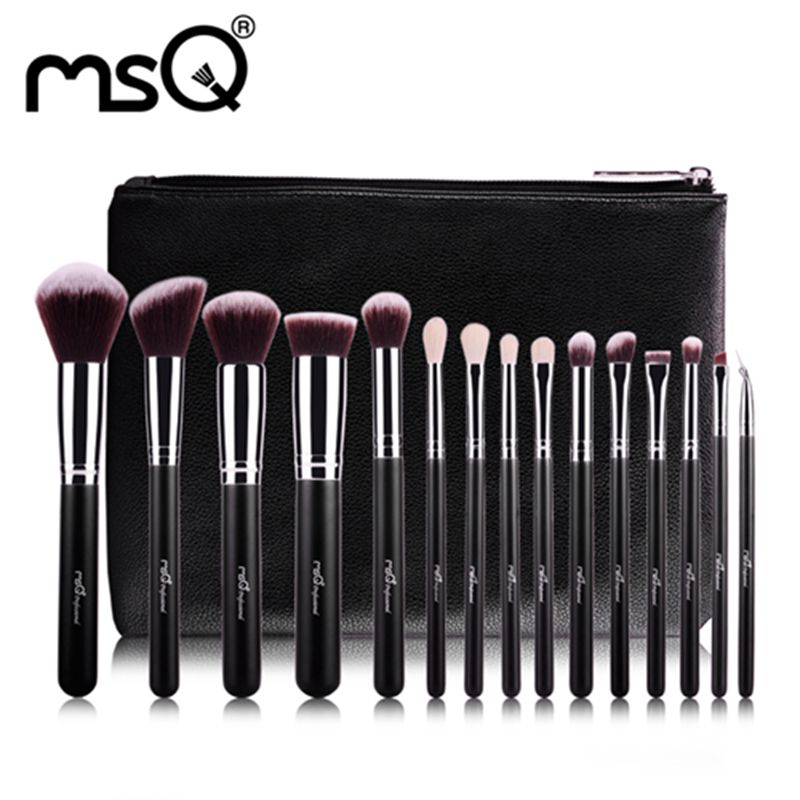 brochas maquillaje MSQ Brand 15pcs Makeup Brushes Foundation Eye Shadows Lipsticks Powder brochas Make Up Brush pincel maquiagem 8pcs rose gold makeup brushes eye shadow powder blush foundation brush 2pc sponge puff make up brushes pincel maquiagem cosmetic