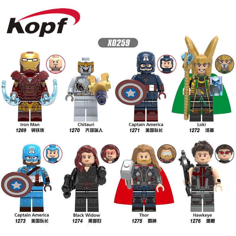 X0259 Single Sale Super Heroes Avengers 4 Endgame Captain America Hawkeye Black Widow Thor Building Blocks Gift For Kids Toys