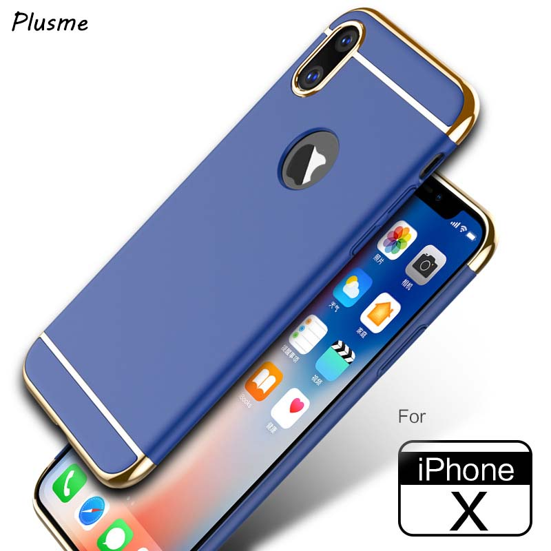 Plusme For iPhoneX Case Premium Plating Anti-Knock Hard Plastic Protective Phone Case for Apple iPhone X 3 in 1 Protective Bags