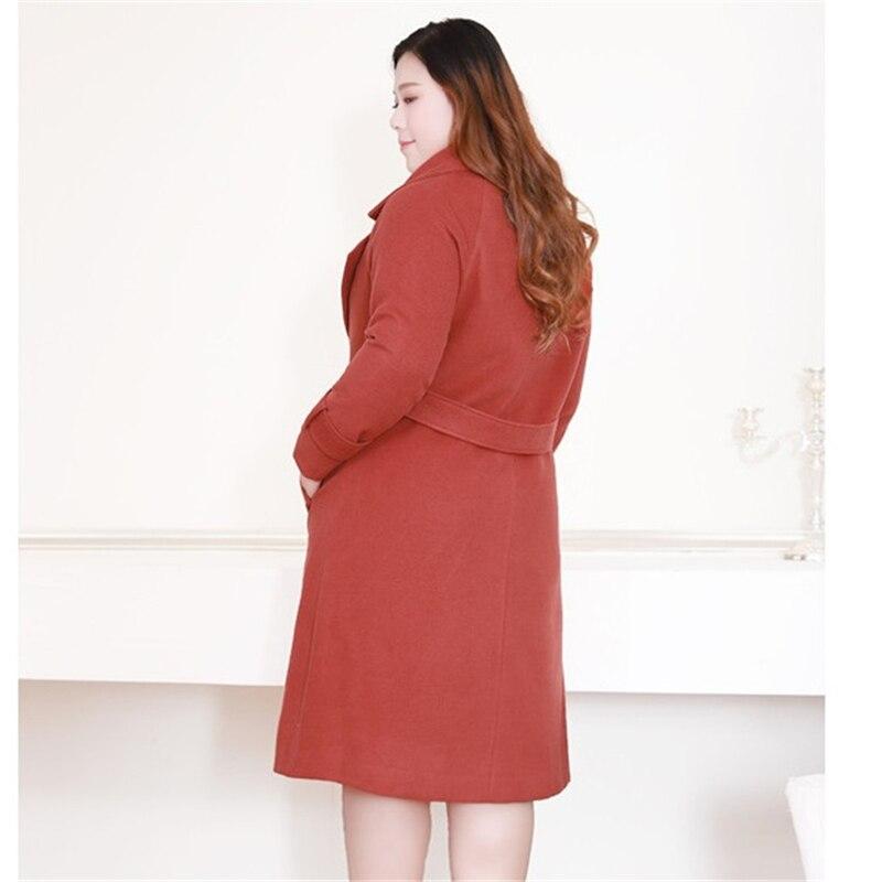 ウールのコートの女性プラスサイズ 4XL 10XL 秋冬ルースウインドブレーカー女性の基本的なコートダブルブレストウールコート大サイズ  グループ上の レディース衣服 からの ウール混紡 の中 3