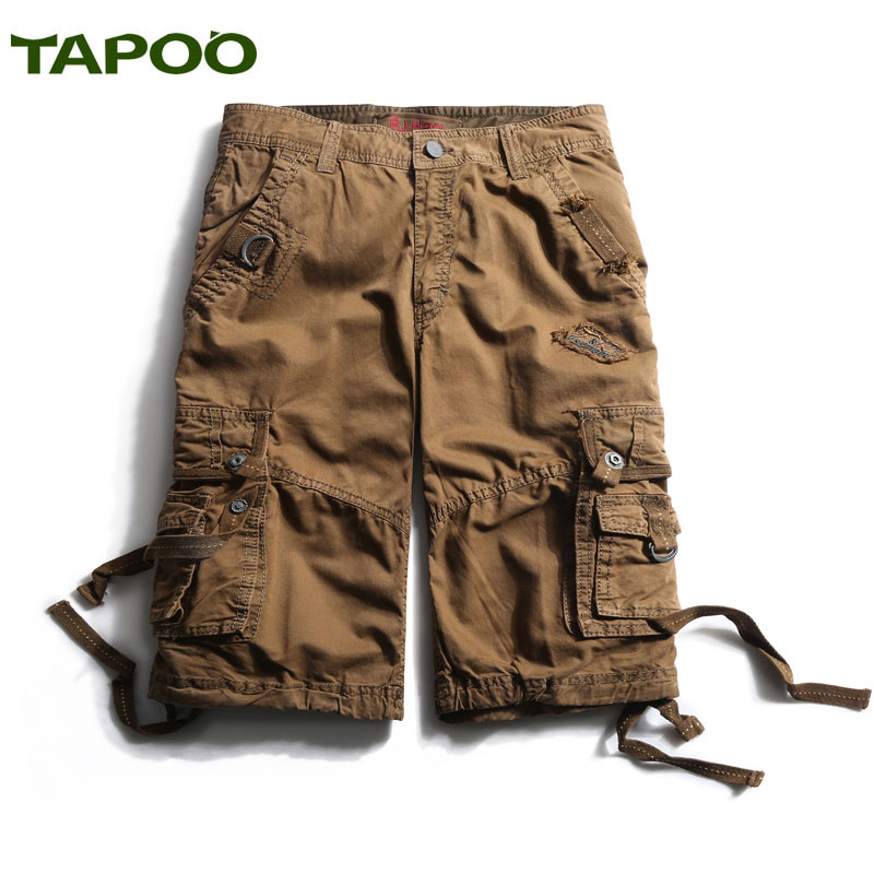 TAPOO Shorts Men Summer Beach Short Casual Cotton Shorts Solid Pockets Hot Trousers for Men Masculino Curto Khaki Blue Green 930