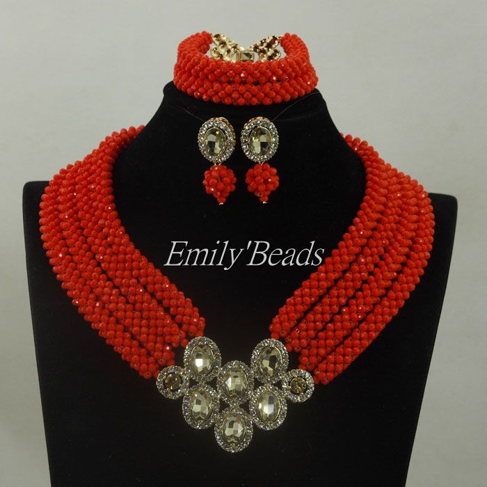 Indian Wedding Jewelry Sets Red Nigerian Costume African Crystal Bridal Beads Jewelry Set Bridal Necklace Free Shipping ALJ342 amazing red nigerian wedding african beads jewelry set costume african jewelry sets bridal beads necklace free shipping abl001