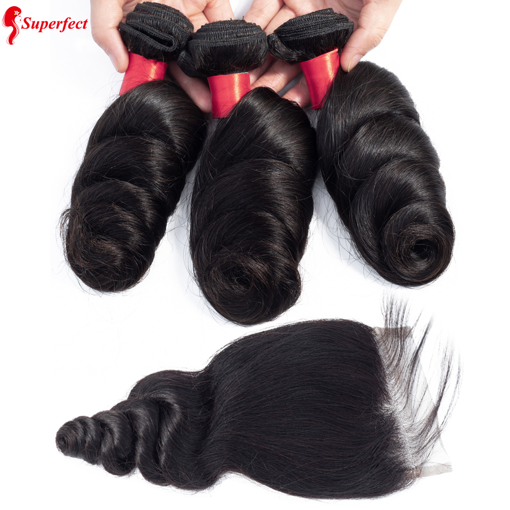Superfect Loose Wave Bundles With Closure Peruvian Human Hair Bundles With Closure 3 Bundles Remy Hair