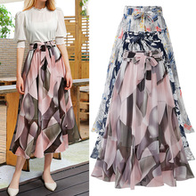 Summer Casual Mid-length skirt female2019 lace-up chiffon floral high waist plus size long yarn midi girls skirts