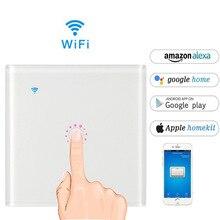Работать с Amazon Alexa Google дома 90 ~ 240 В Smart переключатель Wi-Fi стекло панель Великобритания/ЕС 1 gang сенсорный выключатель света настенный Ewelink app