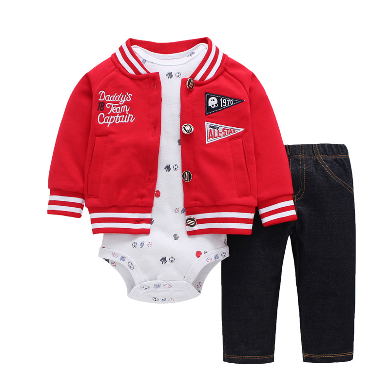 2018 New red boy clothes 100% Cotton Coat+pants+baby romper Autumn Winter sets 6~24 months Bodysuit infant boys sets clothes