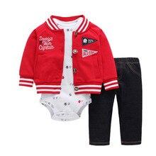 2020 新赤少年は綿 100% のコート + パンツ + ベビーロンパース秋冬セット 6 〜 24 ヶ月ボディスーツ男児セット服
