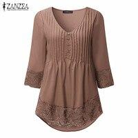 ZANZEA Women Blouses Shirts 2016 Ladies Sexy V Neck 3 4 Sleeve Crochet Lace Irregular Femininas