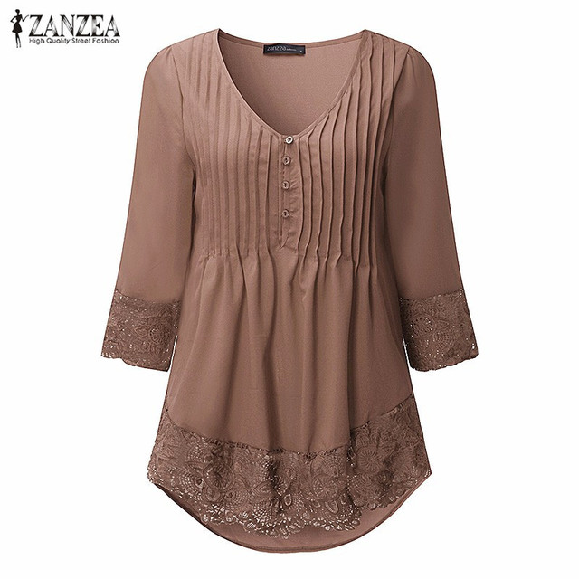 ZANZEA Women Blouses Shirts 2018 Ladies Sexy V Neck 3/4 Sleeve Crochet Lace Irregular Femininas Blusas Casual Slim Pullover Tops