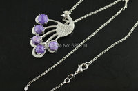 1pc Cute 925 Silver Peacock charm Charlotte cabochon paved Stone Pendant Linked Chain Fashion woman Necklace