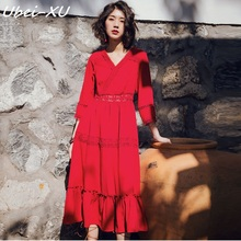 Ubei 2019 V-neck High waist lace beach dress summer new seaside plus size XL resort slim red long cotton fashion