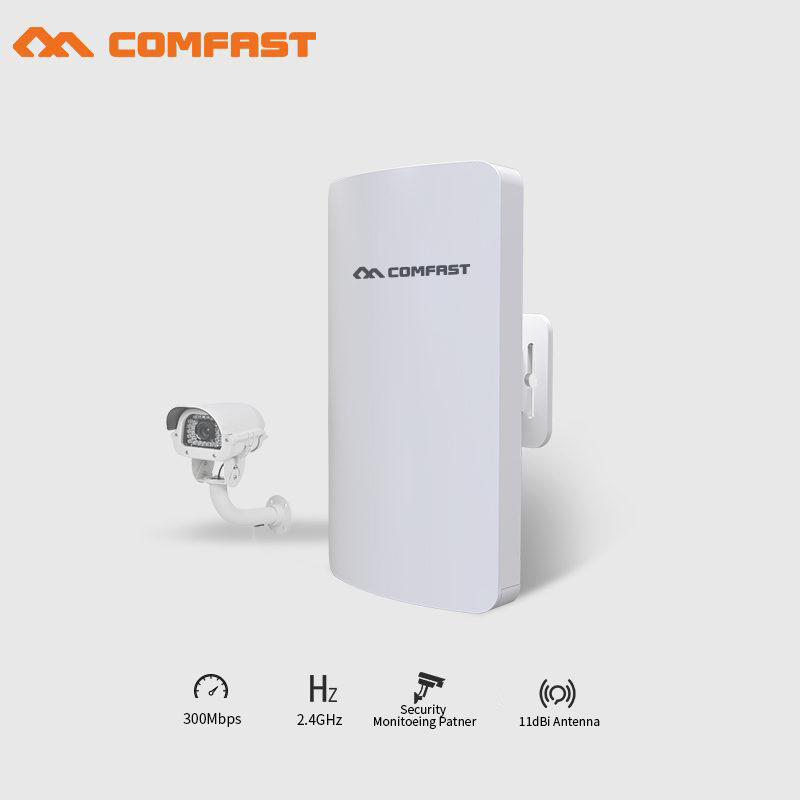 2PCS COMFAST mini CPE Outdoor wireless bridge wifi router repeater 2.4Ghz 300Mbps 1-2KM WIFI Transmitter/ receiver for IP camera