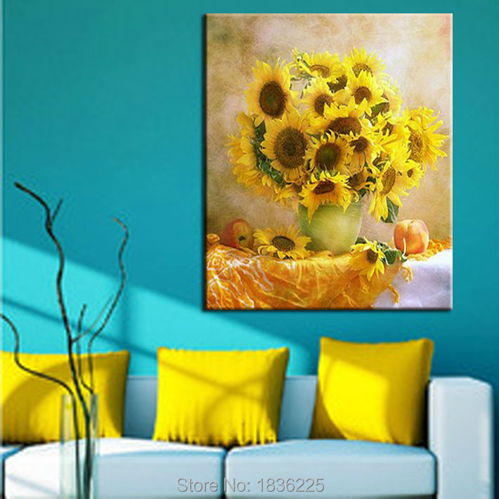 Wall sticker Hand painted canvas picture sunflower oil modern ...