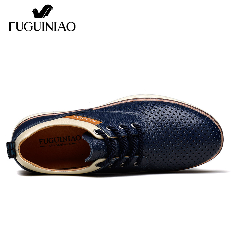 BleuBrun Chaussures GratuiteFuguiniao Plates Hommes Cuir couleur Bleu marron SportLivraison Été Véritable En Respirant De Perforé Oy8vn0mNw