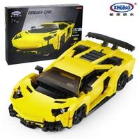 XingBao 03008 Block 834Pcs Creative MOC Technic Series The Yellow Flash Racing Car Set Educational Building Blocks Bricks Toy