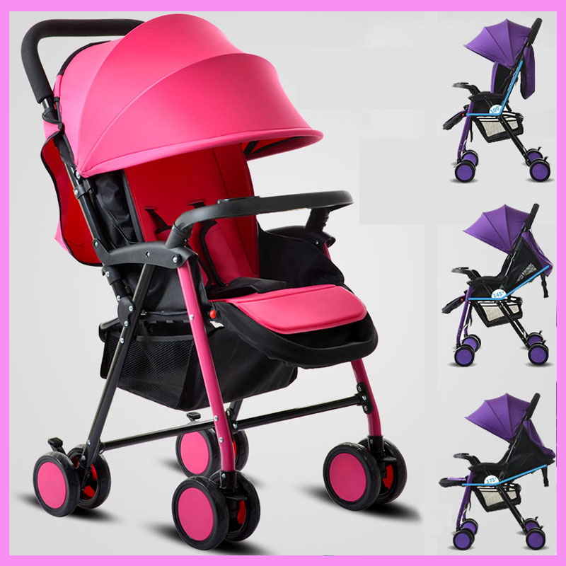 HJP-536 Lycra Umbrella Cotton Cushion Lightweight Car Baby Stroller Sitting Lying Toddler Pram Pushchair Armrest Bottom Basket lycra cotton