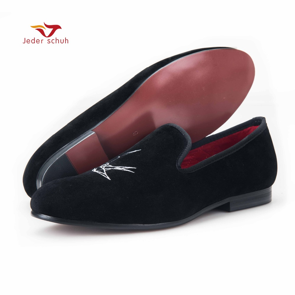 Fashionable 3D Bird Embroidery Men Velvet Shoes Men Party and wedding font b Loafers b font
