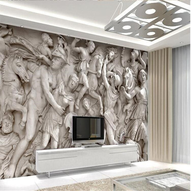 Custom photo wallpaper 3D European Roman statues art wallpaper ...
